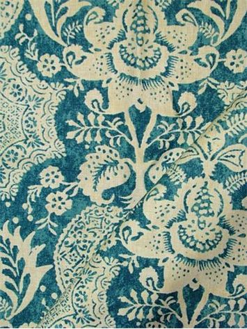 """Shalimar Resist Peacock.  Williamsburg Colonial Fabric Collection. 100% linen. Multipurpose, linen, batik damask print fabric. V 25.25"""" H 9"""" up the roll repeat. 54"""" wide."""