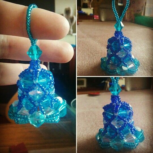 Blue seed bead and crystal bell