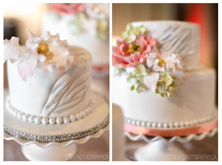Fondant flowers, pink and rhinestone wedding cake - Palais Royale | Olive Photography | www.olivephotography.ca | Toronto & GTA wedding photographer