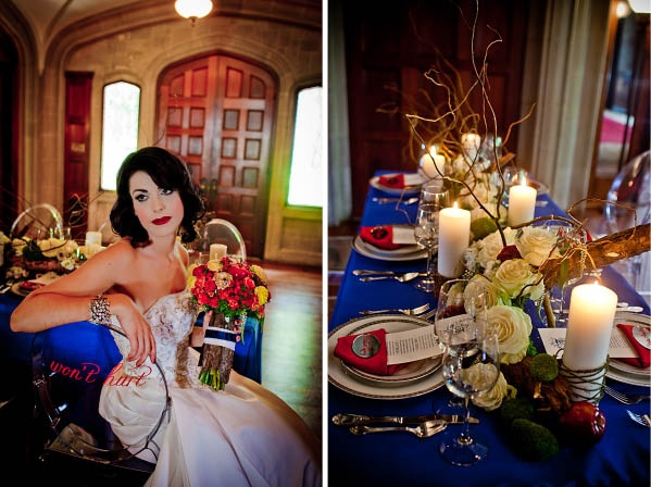 Snow White theme Wedding inspiration. Love the blue an red theme colors http://www.mybigdaycompany.com/weddings.html