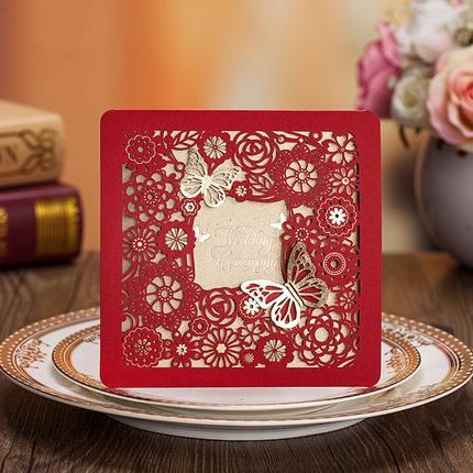 Asian Theme Butterfly Flower Red Gold Wedding Invitation Card New Marriage Card Free Customized Print envelope & seal from $1.39 including fast free shipping worldwide