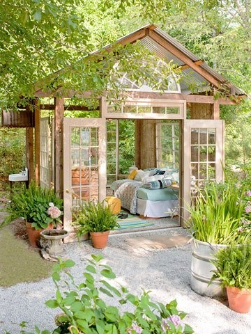 Fun gazebo made out of recycled doors and windows