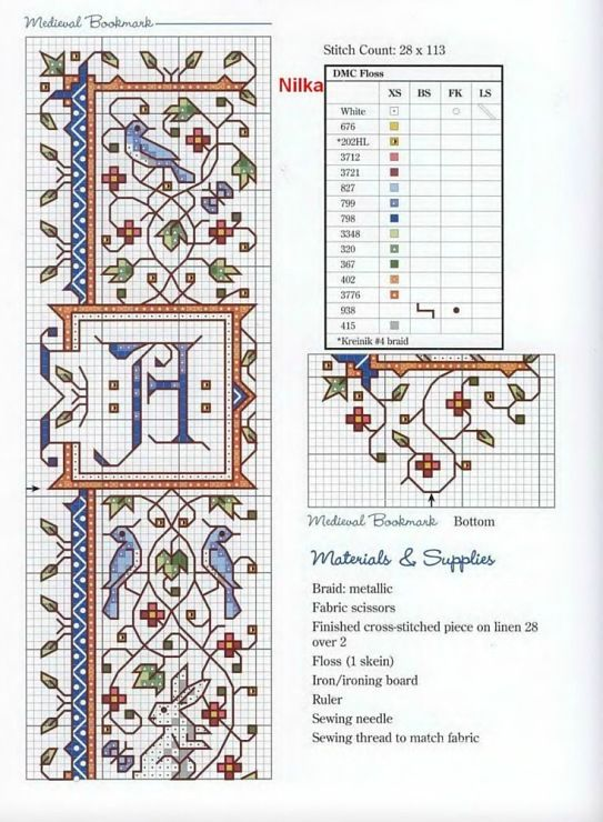 Cross Stich pattern for a Medieval Caligraphy inspired bookmark
