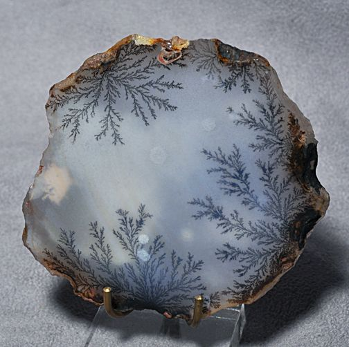 Dendritic agate is a whitish-gray or colorless chalcedony with tree- or fern-like markings known as dendrites. The dendrites in dendritic agate are iron or manganese inclusions, usually brown or black in color. Though they appear organic due to their fern-like structure, they are actually inorganic; they are formed at fine fracture surfaces through crystallization of weathered solutions of neighboring rock.