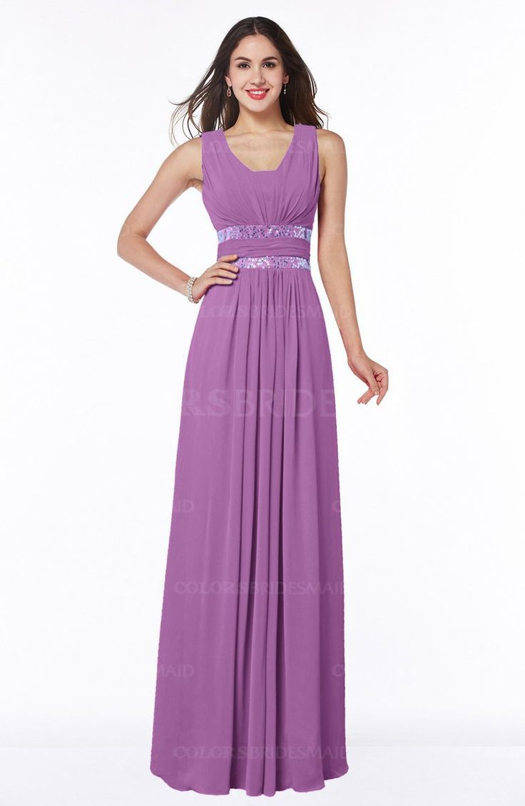 Orchid Glamorous A-line Zip up Chiffon Sash Plus Size Bridesmaid Dresses