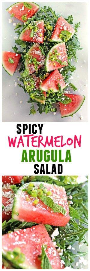10 minute spicy watermelon arugula salad recipe. Click the photo to get the full recipe | Rhubarbarians / summer salad / vegetarian salad / healthy salad /