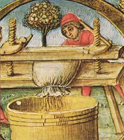 Grapes being pressed to make wine ... or verjuice (16th century). Another verjuce aka verjuice recipe.