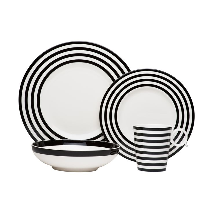 Give your kitchen some texture with these traditional black and white lined bowls, plates, and cups.
