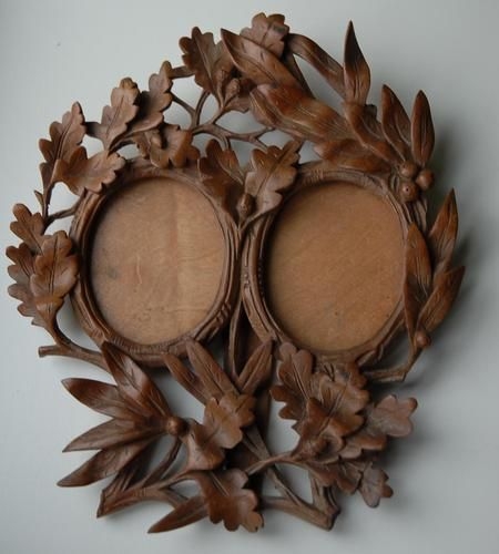 Antique Swiss Black Forest Carved Wooden Double Picture Frame |