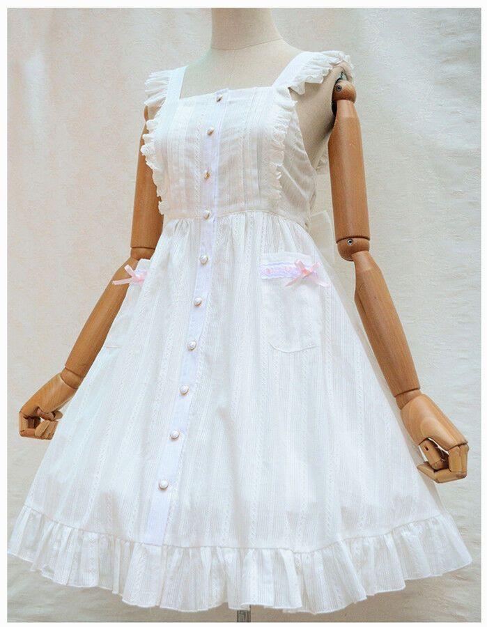 Women Lolita Bowknot Deep V Back White Dress Maid Apron Cosplay Costume