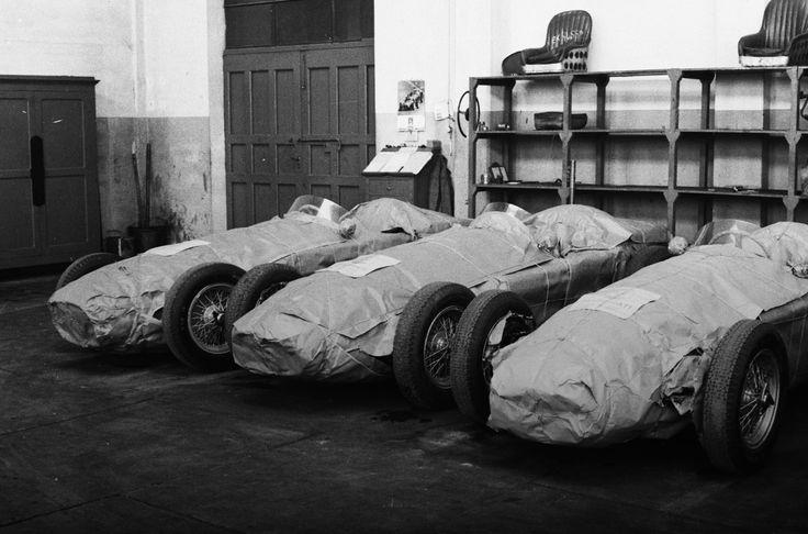 1950s Maserati formula one cars at the factory.