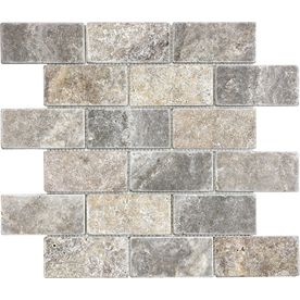 Anatolia Tile Silver Crescent Tumbled Natural Stone Mosaic Subway Thinset Mortar Wall Tile (Common: 12-in x 12-in; Actual: 12-in x 12-in)