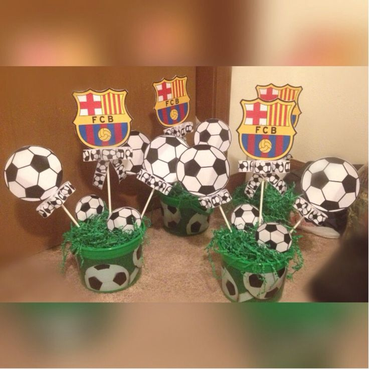 Soccer theme centerpieces creations pinterest