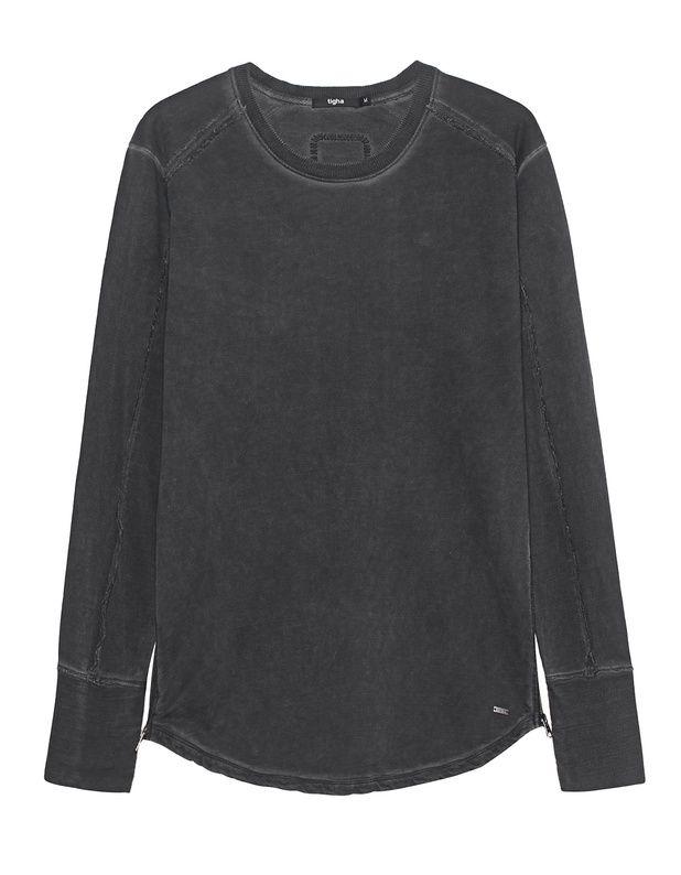 Langer Sweater mit Zipper Länger und schmal geschnittener Baumwoll-Sweater im dunkelgrau verwaschenen Look mit geripptem Rundhalsausschnitt, Raglanärmeln mit ausgefransten Säumen, Zippern am abgerundetem Saum und kleinem Label-Emblem.  Sportlich-cool mit einem Touch Avantgarde - TIGHA setzt auf den neuen Look!