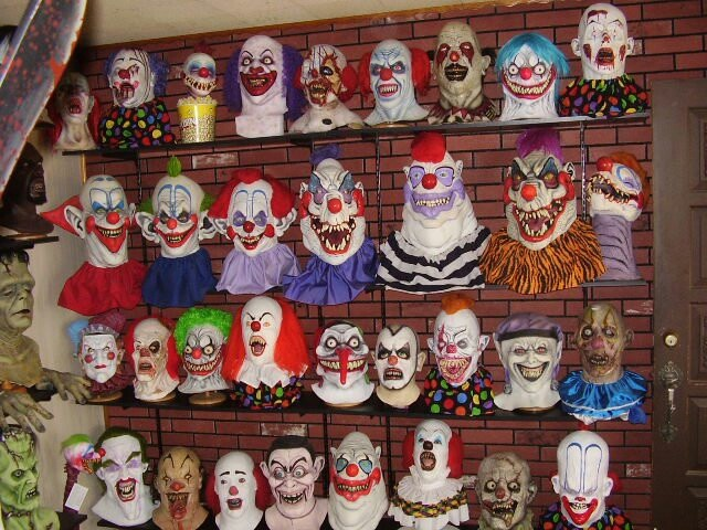 Awesome collection of clown masks.