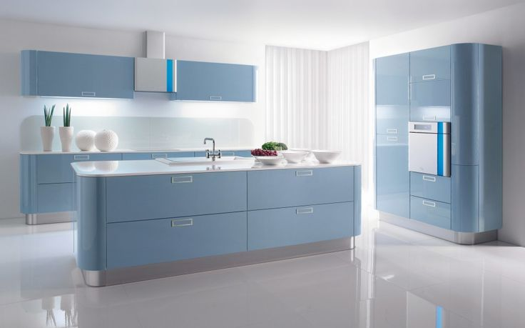 Kitchen : Baby Blue Kitchen Themes Also Blue High Cabinets With Storage And Microwave Drawers With Violet Wall Cabinets Decoration And Stainless Steel Cooker Hood Besides Kitchen Decoration Design Kitchen In Color Themes Colorful Kitchen Modern Kitchen Decoration for Home Part 3 Nice Accent. Kitchen Cabinets. Cupboards.
