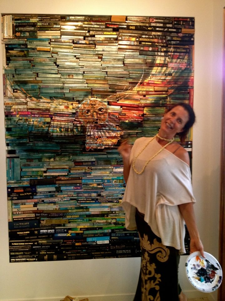 """Boxing Day Fun!  While the family were sleeping off their indulgences, I finished my book installation....  """"Hoot"""" is made from almost 1000 books!"""