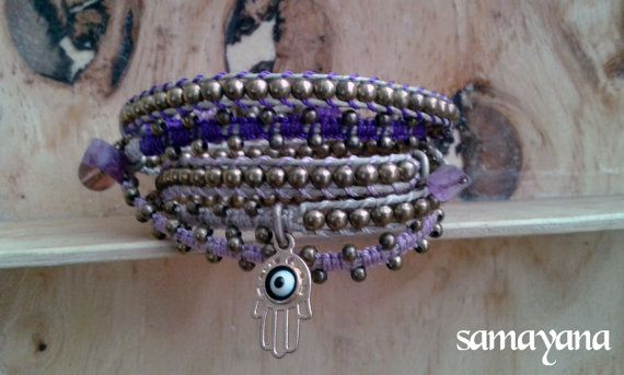 Brazalete Varanasi 5 vueltas color violeta Dije con por Samayana