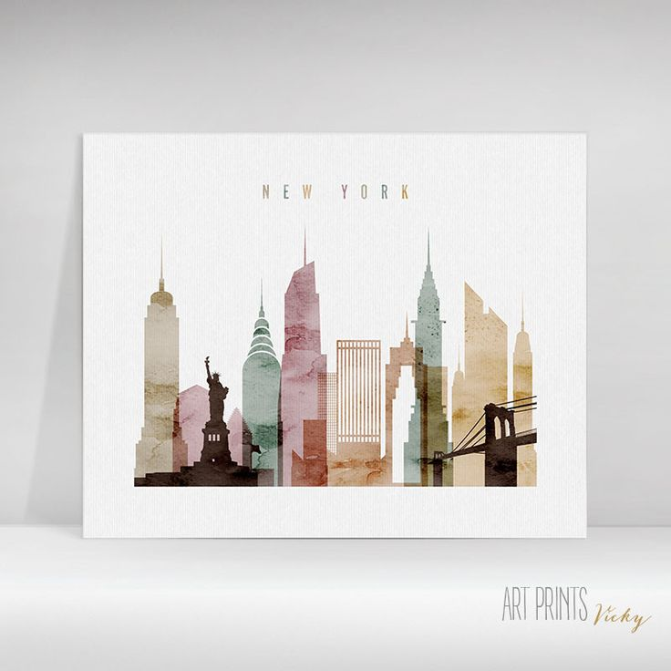 New York City skyline watercolour poster from $8.00 to $62.