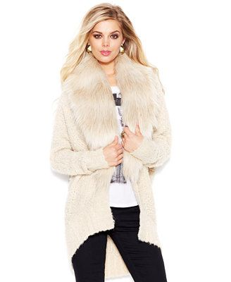 307df57585419 GUESS Faux-Fur Trim Oversized Cocoon Cardigan