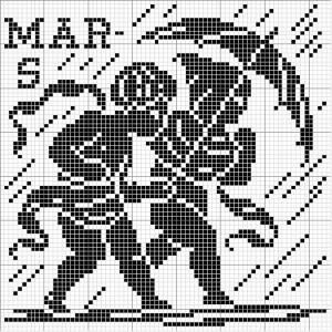 Month 03 | Free chart for cross-stitch, filet crochet | Chart for pattern - Gráfico