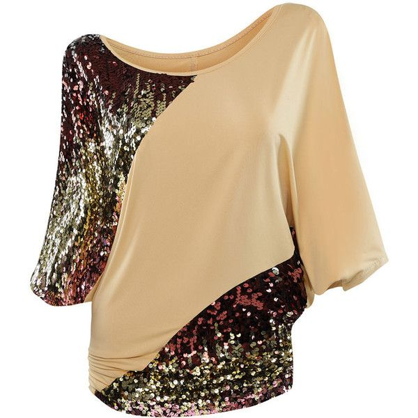 Stunning Batwing Sleeve Glitter Round Neck Plus Size T-Shirt ($29) ❤ liked on Polyvore featuring tops, t-shirts, short sleeve t shirt, summer tops, plus size batwing tops, women's plus size graphic tees and plus size summer tops