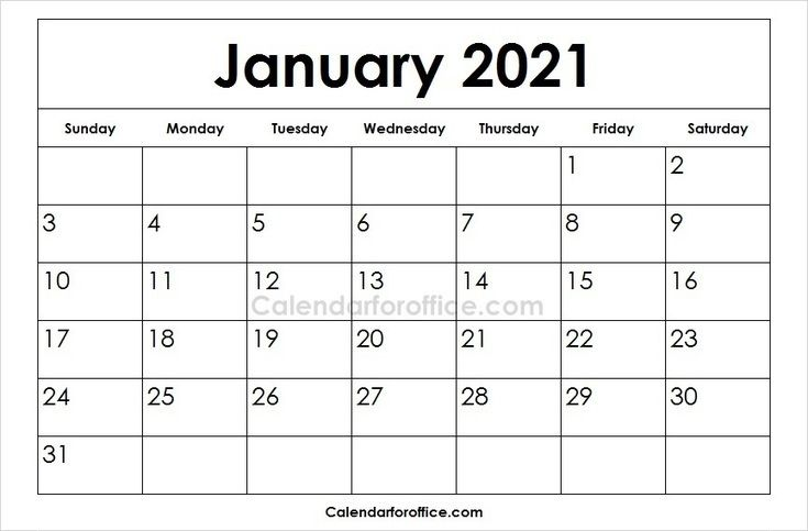 Printable 2021 January Calendar For Free Download Blank 2021 Templates Calendar For Office April Calendar Printable February Calendar August Calendar