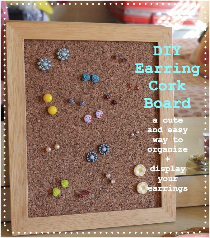 DIY earring cork board <3