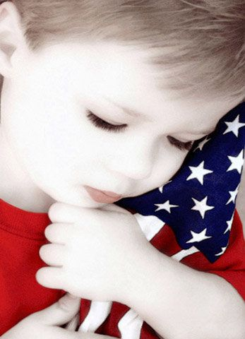 Sweet boy with the American flag