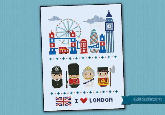 **NOW RESTYLED** his is a super funny pattern for all the London lovers, featuring the icons characters and places: Tower Bridge, London Eye, Big Ben, Gherkin and dont forget the double decker buses and the telephone box! And then a bobby, the Queen guard, Queen Elizabeth II and a beefeater!  CROSS STITCH PATTERN DETAILS: Stitches: 83x117 Size (with 14 count Aida fabric): 15x21,5 cm – 5.9x8.5 in  With purchase, youll receive a download link with: A PDF pattern with colors and symbols A…