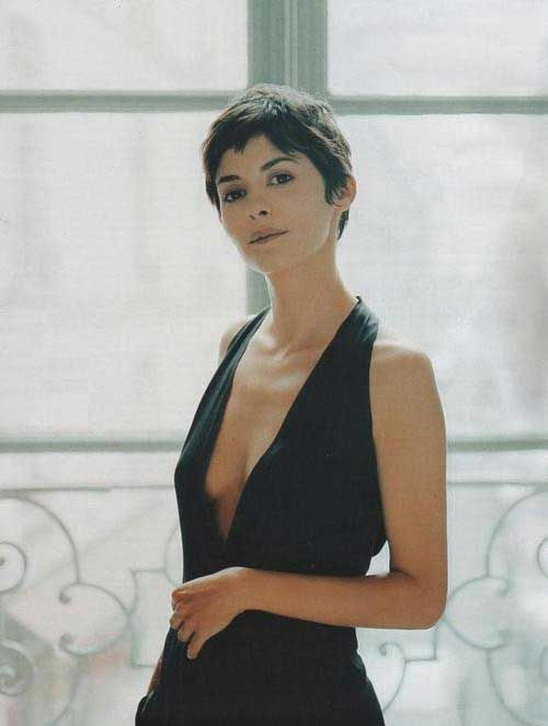Short Curly Pixie Hair. Audrey Tautou