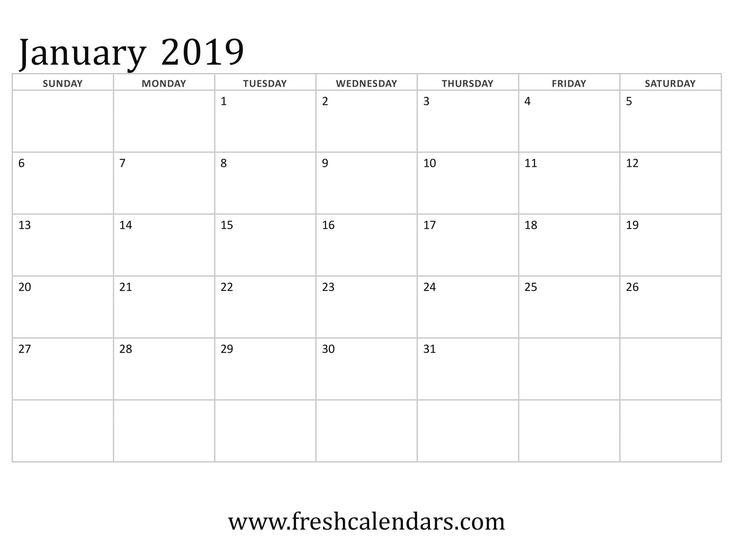 January 2019 Calendar Basic Template 999+ Monthly Calendar