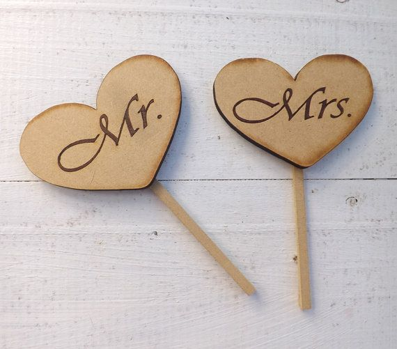 Heart Shaped Rustic Wood Cake Toppers Wedding Favors Rustic Wedding Vintage Cake Toppers