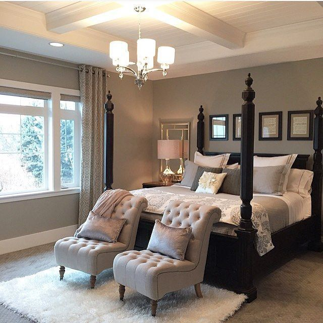 we love every detail of this beautiful bedroom designed by chairs at the foot of the bed - Master Bedroom Design Ideas