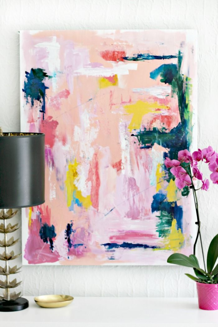 Shannon Claire: Foyer Refresh: DIY Abstract Art and Painted Black Door