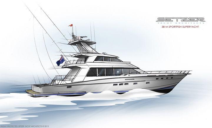 38 M Sportfish Superyacht   Super Sportfish   Setzer Yacht Architects