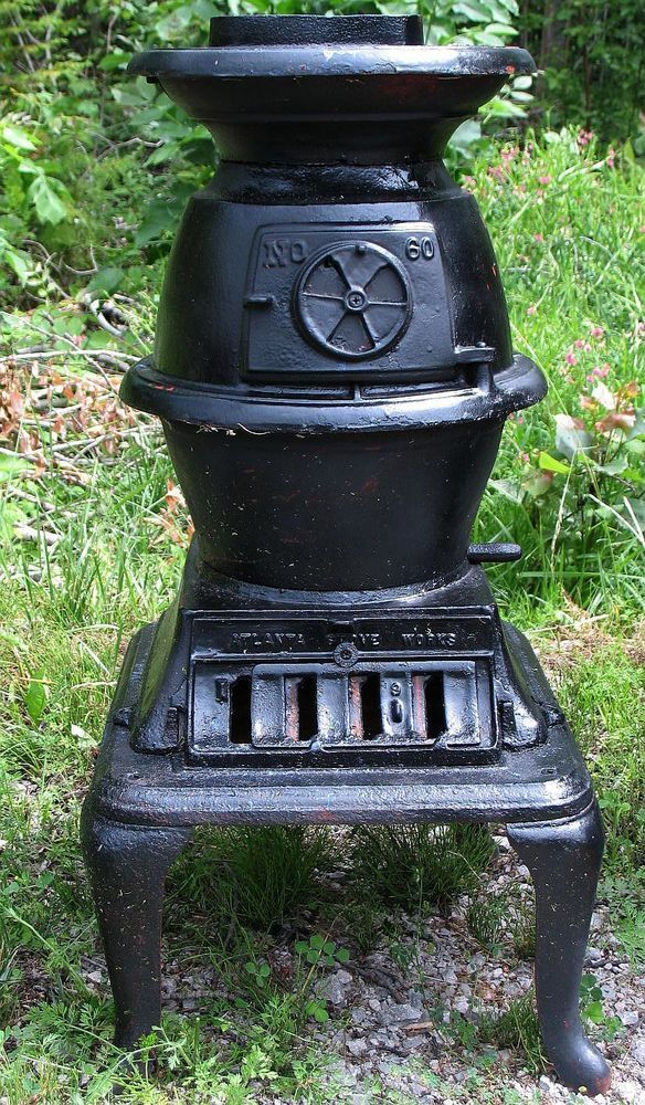 Vintage Pot Belly Stove Atlanta Stove Works No 60