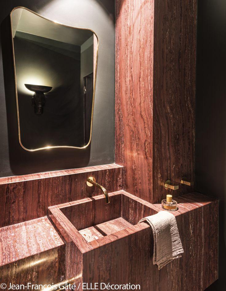Les 25 meilleures id es de la cat gorie salles de bains rouge sur pinterest chambre principale for Decoration salle de bain rouge