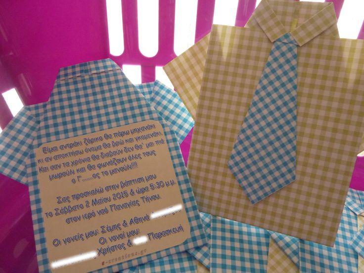 #ΒΑΠΤΙΣΗ ⁞ Προσκλητήριο πουκάμισο με... γραβάτα! Λεπτομέρειες εδώ... http://e-creations.gr/index.php/vaptish-agoriou/2-poukamiso-me-gravata