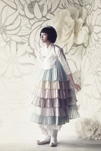 """Pastel Hanbok with Frills"" traditional dress from Korea"