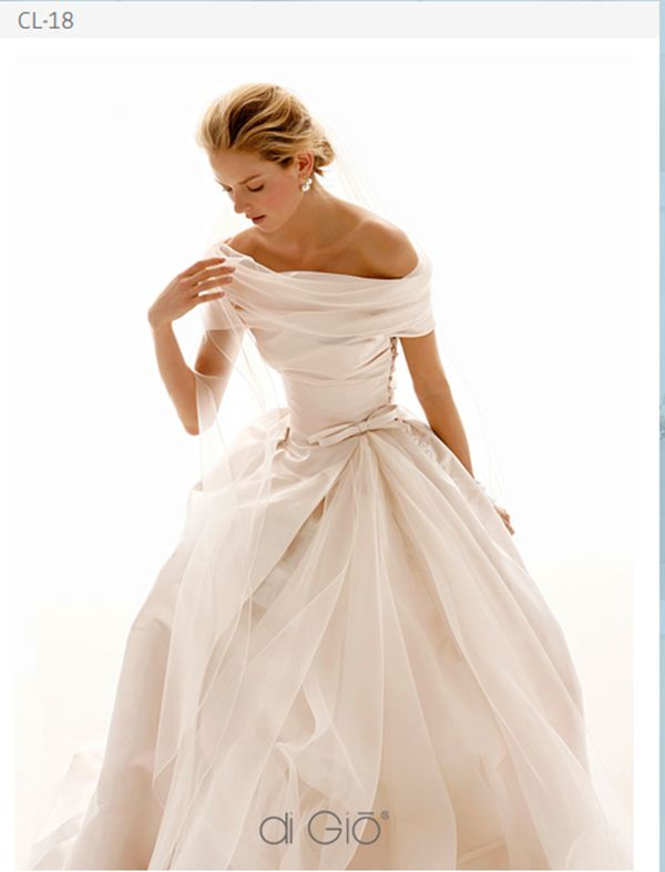 Off the Shoulder Sheath Ball Gown Dress - How to Select Wedding Dresses for the Mature Bride - EverAfterGuide