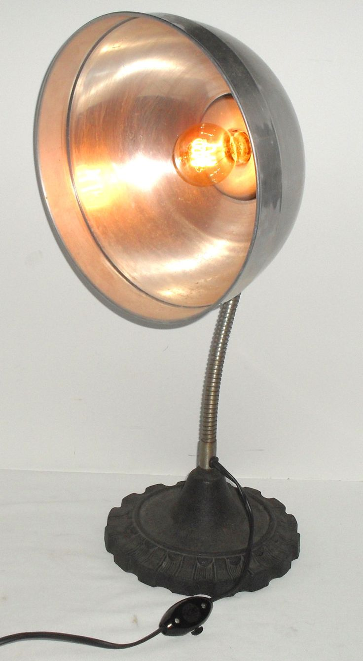 Vintage 40s cast iron metal deco industrial gooseneck desk lamp light - Vintage Cast Iron Gooseneck Desk Accent Lamp Industrial Art Deco Light Re Purposed Parabolic Aluminum Heat Reflector With Amber Spiral Bulb