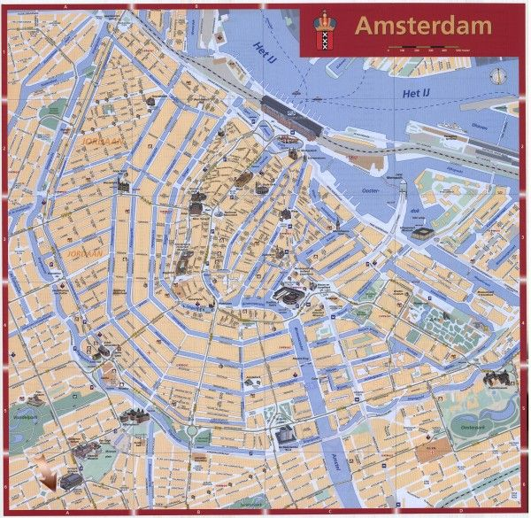City Map Of Amsterdam Netherlands | Amsterdam Tourist map - Amsterdam Netherlands • mappery