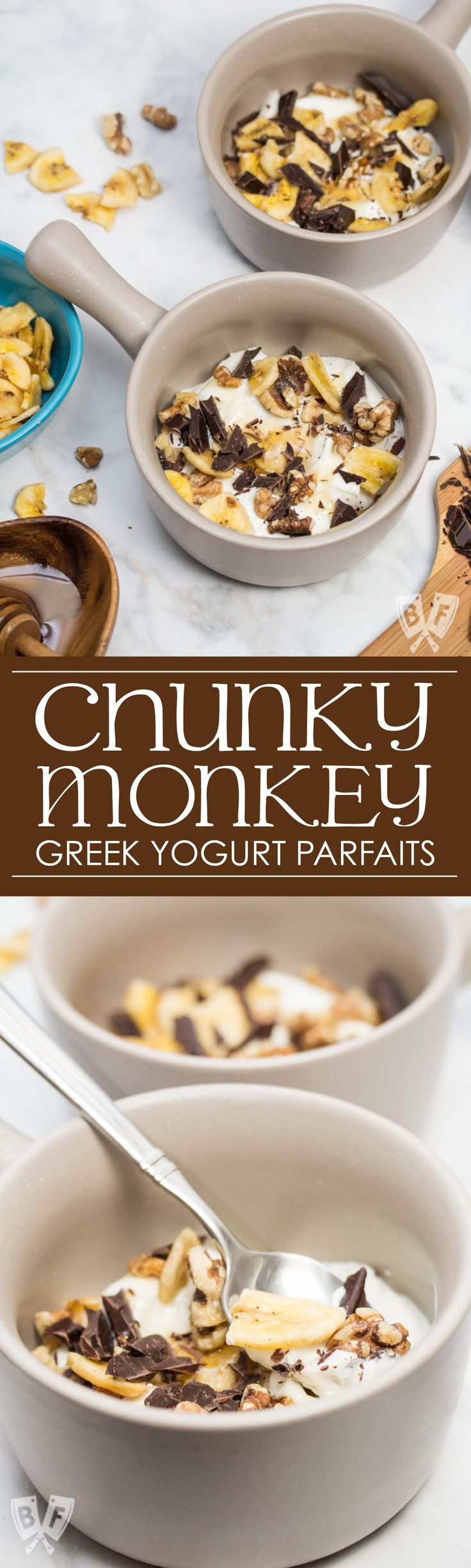 Chunky Monkey Greek Yogurt Parfaits: Chunks of premium dark chocolate, banana chips, toasted walnuts + a drizzle of honey bring these dessert-inspired breakfast parfaits to the next level! #StonyfieldBlogger #TheWholeYou #ad
