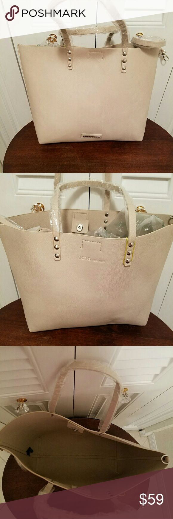 BRAND NEW BCBGENERATION  beige tote handbag Beautiful tote bag with attachable shoulder strap . BCBGeneration Bags Shoulder Bags
