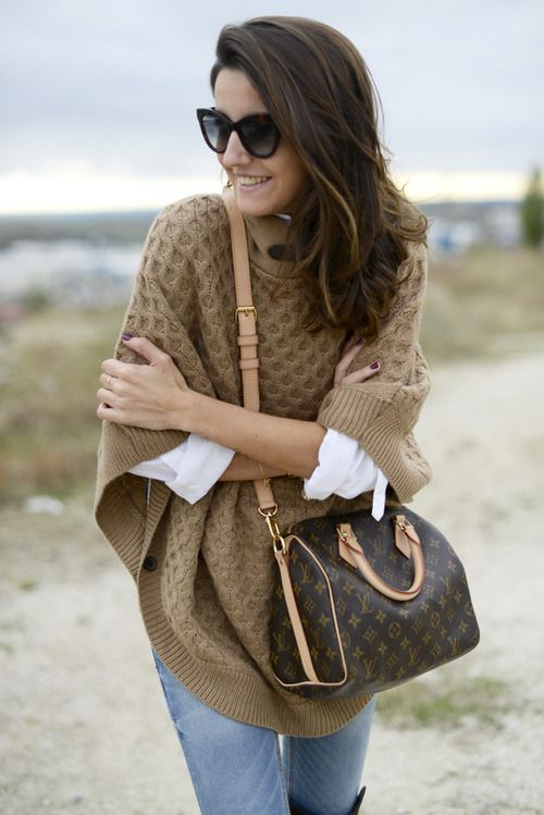 camel poncho and louis vuitton speedy on lovely pepa