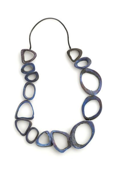 Klimt02: DANIELA BOIERI-ITALY  jewelry design unique handmade jewelry images jewelers-Necklace: Blue, 2006 Bone, pigment, 18k gold ø 60 cm