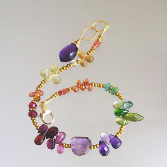 Rainbow Bracelet Multi Gemstone Beaded With Amethyst Shire Ruby Garnet Layering Chakra
