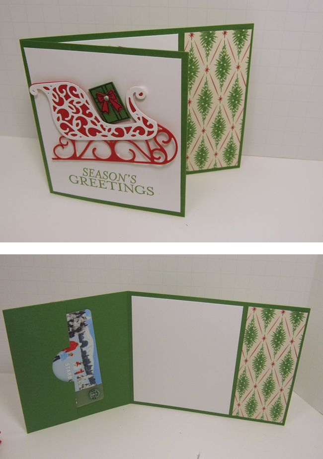 Santa Sleigh Gift Card holder.  Measurements and dimensions can be found on my blog.