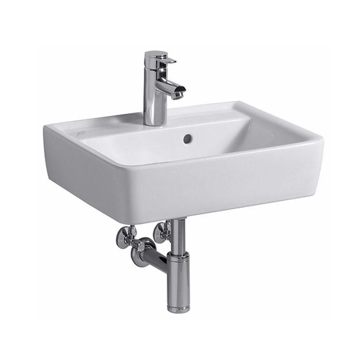 Keramag Renova Nr. 1 Plan Handwaschbecken weiß mit 1 Hahnloch mit Überlauf